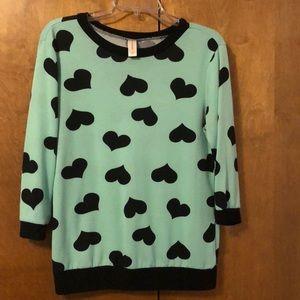 Mint Green Light-Weight 3/4 Sleeve Heart Sweater